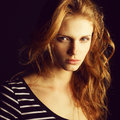 Fashionable red-haired (ginger) model in t-shirt Royalty Free Stock Photo