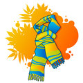 Fashionable scarf on autumnal background Stock Photography