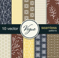10 fashionable seamless vector patterns. Blanks for postcards, prints fabric, background for web. Subject fashion. Royalty Free Stock Photo