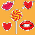 Fashionable stickers with the image of hearts, bright lips Royalty Free Stock Photo