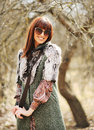 Fashionable stylish woman in casual dress wearing sunglasses wit Royalty Free Stock Photo