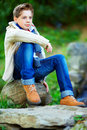 Fashionable teenage boy colorful outdoors portrait of Royalty Free Stock Photos