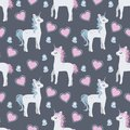 Fashionable trendy seamless pattern with cute cartoon unicorns with baby blue and pink manes and butterflies and hearts