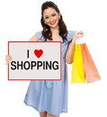 Fashionable woman holding signboard shopping Stock Photos