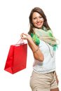 Fashionable Woman Looking Inside a Shopping Bag Royalty Free Stock Photo