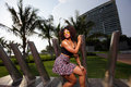 Fashionable woman in a miami beach scene stock image of young jamaican posing Stock Photos