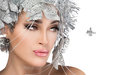 Fashionable woman portrait with silver stylism vogue style mode beauty christmas girl sensual lips holiday makeup and hairstyle Royalty Free Stock Photography