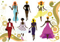 Fashionable women's silhouettes Royalty Free Stock Photos