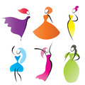 Fashionable women silhouettes stylized symbols Stock Photography