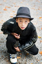 Fashionable young boy nine year old wearing a fedora Stock Image
