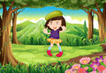 A fashionable young girl at the forest illustration of Royalty Free Stock Photo