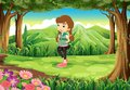 A fashionable young girl at the forest illustration of Stock Photo