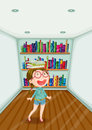 A fashionable young girl inside a room full of books illustration Stock Photography