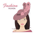 The fashionable young lady in a hat with feathers vector illustration on a white background Royalty Free Stock Image