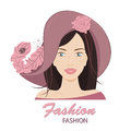 The fashionable young lady in a huge hat with feathers vector illustration on a white background Stock Photos