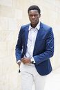 Fashionable young man of african descent wearing smart casual men s fashion Royalty Free Stock Photo