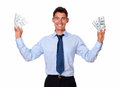 Fashionable young man holding cash dolllars portrait of a dollars on white background Stock Photo