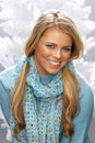 Fashionable Young Woman Wearing Knitwear In Studio Stock Photo