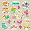 Fashioned girl badges, cute stripes and cartoon patches. Teenage badge with fashion sneakers, food and camera vector
