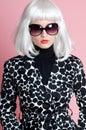 Fashionista in platinum wig Royalty Free Stock Photo