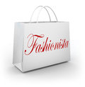 Fashionista shopping bag buying clothes store sale word on a paper illustrating a person who is an expert in fashion style and Stock Photography