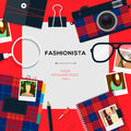 Fashionista template with accessories Royalty Free Stock Photo