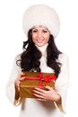 Fashionwoman portrait hold christmas gift fashion isolated woman Royalty Free Stock Image