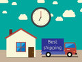 Fast accurate shipping and concept lorry house and clock eps vector illustration no transparency Royalty Free Stock Photo