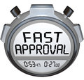 Fast approval words stopwatch timer approved loan mortgage credi the on a or to illustrate speed in response and answer when Royalty Free Stock Photo