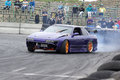 Fast car picture of during drift competition at napierville dragway in canada Stock Image