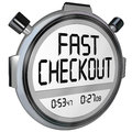 Fast checkout store buy purchase quick service stopwatch timer words on a or to record how quickly you can complete a process at a Stock Photos