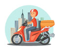 Fast delivery concept illustration. Urban landscape with modern buildings and motor bike or scooter