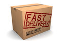 Fast delivery d illustration of cardboard box with sign Royalty Free Stock Photography