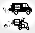Fast delivery deliver with motorcycle messenger and truck over white background Royalty Free Stock Images