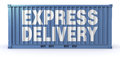 Fast delivery one freight container with the text express on a side d render Royalty Free Stock Images