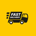Fast delivery. Truck icon on yellow background