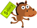 Fast earning an illustration of a running horse carrying a dollar bill with a salary word Royalty Free Stock Photography