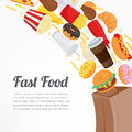 Fast food background with colorful food icons. Tasty food concept. Vector