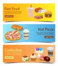 Fast food banners for order delivery online. set of burgers, pizza and desserts.