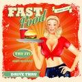 Fast food blonde  vintage Royalty Free Stock Photo