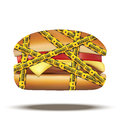 Fast food burger with workout time tapes Royalty Free Stock Photo