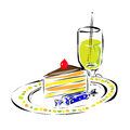 Fast food cake on a plate with drawing near drink Stock Images