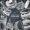 Street food festival menu. Vintage sketch collection. Fast food set. Engraved style design. Vector drink drawing on chalkboard