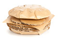 Fast food cardboard burger cheeseburger made from from unhealthy eating or concept Stock Photo