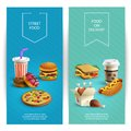 Fast Food Cartoon Banners Royalty Free Stock Photo