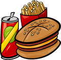 Fast food cartoon clip art illustration of set with hamburger and french fries and soda Stock Photography