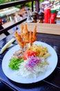 Fast food chicken menu near the sea in vama veche romania blac black Stock Photos