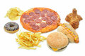 Fast food collection various types of on a white background Royalty Free Stock Photo