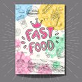Fast food colorful modern banners set. Royalty Free Stock Photo