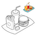 Fast food coloring book. Food in linear style. Big fresh hamburg Royalty Free Stock Photo